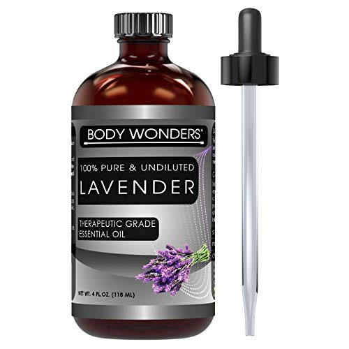 Body Wonders 100% Pure Lavender Essential Oil - 4 oz Bottle - Finest Quality Therapeutic Grade Essential Oils - Ideal For Aromatherapy