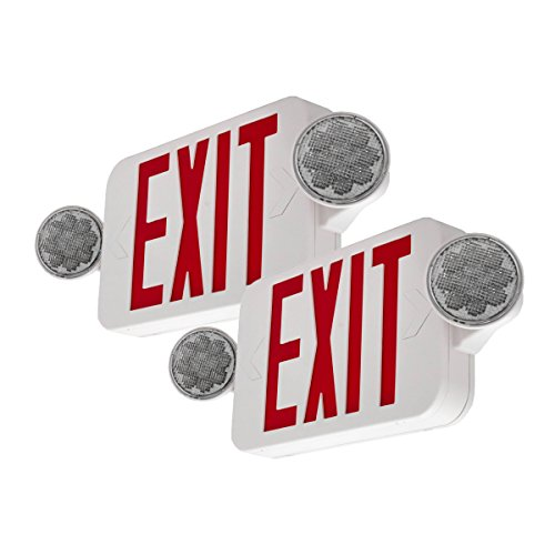 LFI Lights - 2Pack - UL Certified - Hardwired Red Compact Combo Exit Sign Emergency Egress Light - High Output - COMBORJR2x2
