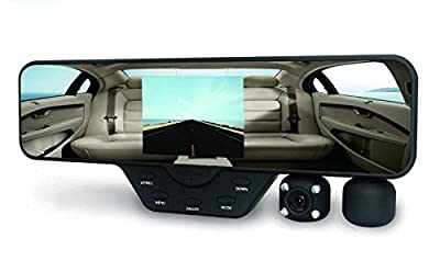 Black Box M1000 Rearview Mirror Dash Cam - Dual Camera Rotating Lenses & Full HD Car DVR Video Recorders - Wide Angle, G-Sensor, 60FPS, WDR Night Video & Motion Detection (16GB SD Included) from The Rear View Camera Center
