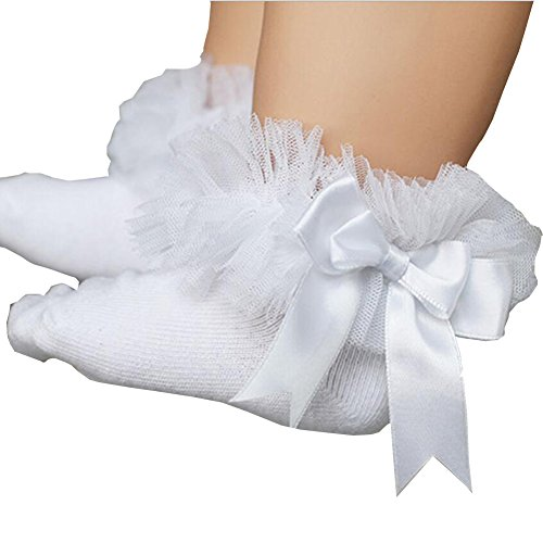 ONE'S Newborn Infant Baby Toddler Girls Princess Bowknot Lace Ruffle Frilly Trim Ankle Sock (0-2 Years, White) ()