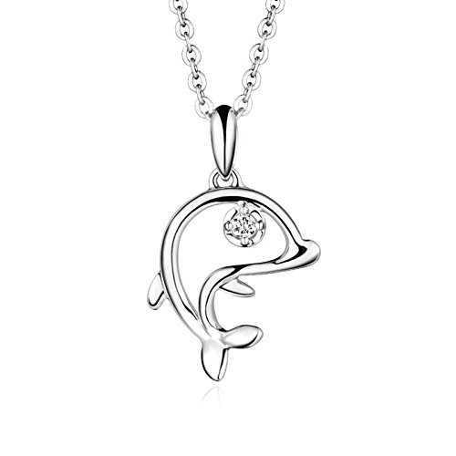 Daesar 18K Gold Necklace for Women Dolphin Pendant Necklace Diamond Silver Platinum Chain 45CM (2.6G) by Daesar