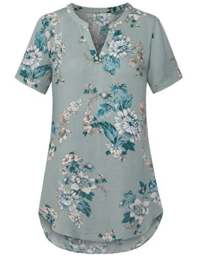 EMVANV Women's V Neck Short Sleeve Curved Hem Sheer Tunic Blouse Shirt Tops Green
