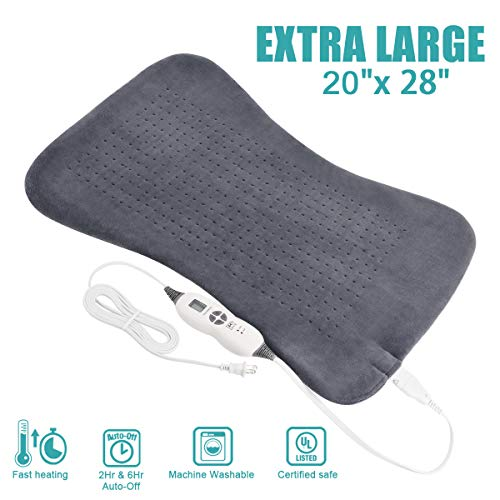 Tech Love XXL Electric Heating Pad for Neck Shoulder and Back Pain Relief with Fixation Strap Moist Heat Pad with Auto Shut Off Extra Large 20'' x 28'' - Charcoal Gray
