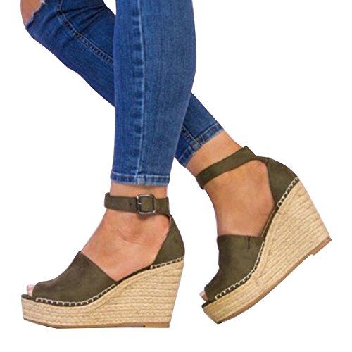 Minetom® Women's Summer Espadrilles Suede Leather Peep Toe Wedge Block Chunky Heel Sandals Thong Flip Flop Ankle Strap Buckle Platform Shoes Green 6z84Jn