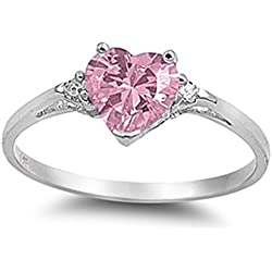Pink Cz Heart & White Cubic Zirconia Ring Sz 6 Valentine's Day gift