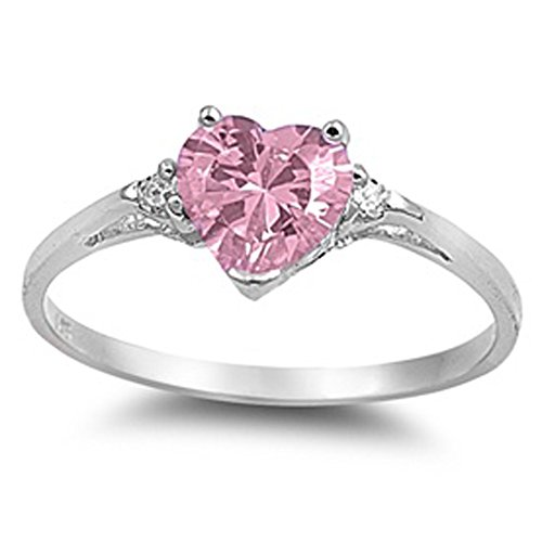 Pink Cz Heart & White Cubic Zirconia Ring Sz 7