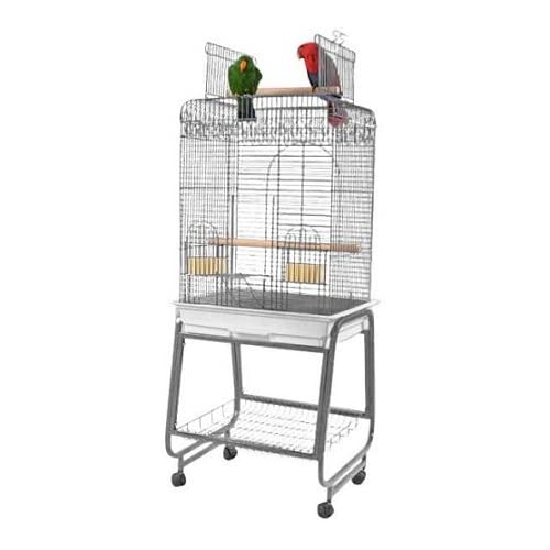 Image of Pet Supplies Play Top Bird Cage with Plastic Base Color: Platinum