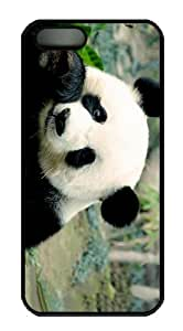 cases Cheap price panda eating PC Black Case for iphone 5/5S