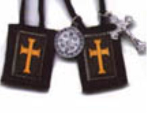 Brown Scapular with Gold Cross - Short Cord (1010) ()
