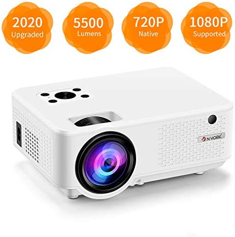 Video Projector, [2020 Upgraded] 5500 Lumen Mini Projector, 1080P Supported, Full HD 210″ Display, Compatible with Phone/VGA/TV/PS4/DVD Ideal for Home Theater