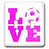 3dRose lsp_200770_2 Love Soccer Pink White Light Switch Cover