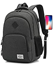 AUGUR Laptop Backpack, Travel Hiking Computer Bag for Women & Men, Water Resistant Lightweight College School Bookbag, Slim Business Backpack w/USB Charging Port Fits 15.6-inch Notebook (Mars Black)