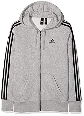 adidas Men's CF5056 Essentials 3-Stripes Full Zip Brushed Jacket, Medium Grey Heather/Black, Medium
