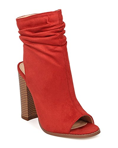 Liliana Slouchy Shaft Open Toe Suede Women Booties Block Heel Anson-1 (7, - Kate Mary And Off On