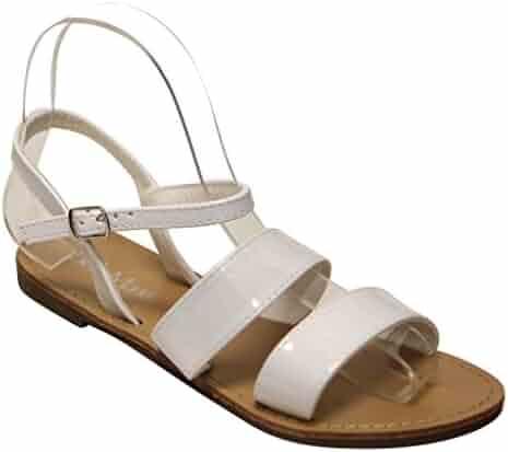 7d190921698a65 Bella Marie Kids Nova-7k Open Toe Slingback Ankle Strap Patent Flat Sandals