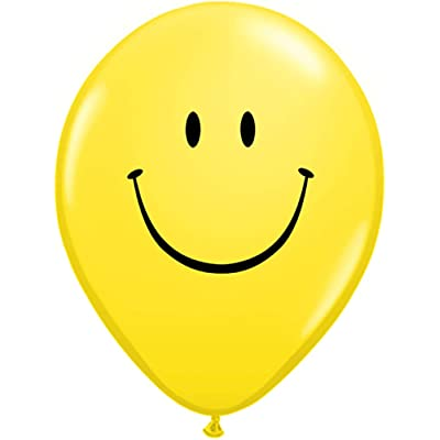 "Qualatex 39270 Smile Face - Yellow Latex Balloons, 5"", Yellow, Pack of 100: Toys & Games [5Bkhe0502909]"