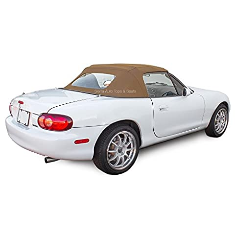 Mazda Miata Convertible Top 90-05 One-Piece Non-Zippered Heated Glass Window, Tan Stayfast Cloth