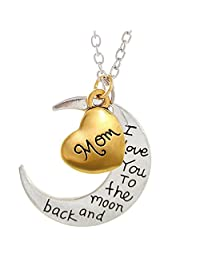 Mom I Love You To The Moon and Back Heart Pendant Necklace – The Best Family Gift for Mother – 18' (45.7 cm)