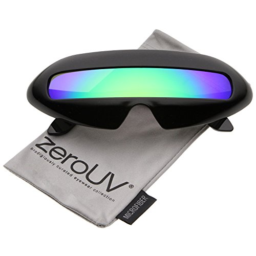zeroUV - Futuristic Costume Single Shield Colored Mirror Lens Novelty Wrap Sunglasses 70mm (Black / Green - Crazy Sunglasses