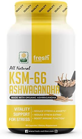 Organic KSM-66 Ashwagandha Root Extract – 700mg High Potency 5 Withanolides 75mg – Reduces Stress Anxiety Relief Like Kava Kava – Energy Focus – 90 Veggie Capsules