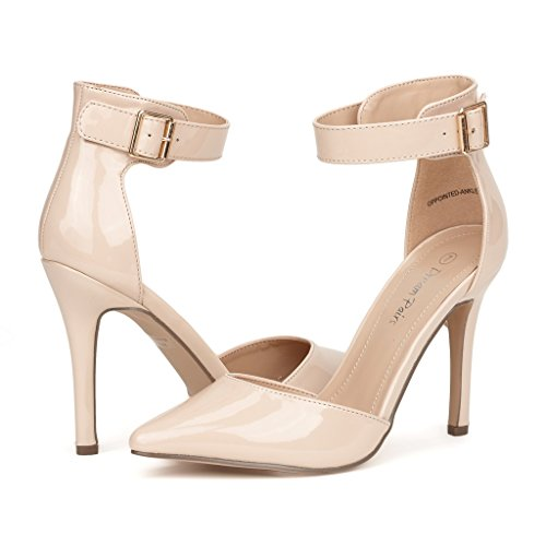 DREAM PAIRS Oppointed-Ankle Women's Pointed Toe Ankle Strap D'Orsay High Heel Stiletto Pumps Shoes Nude Pat Size 10 ()