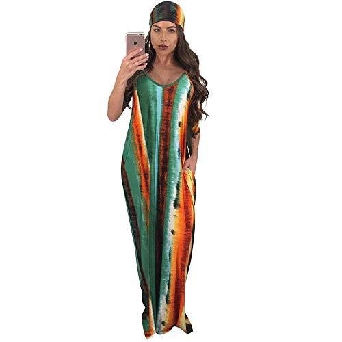 Womens Summer Street Fashion Spaghetti Straps Sleeveless V-Neck Backless Tie-Dyed Belted OL Loose Draped Pockets Party Club Boho Maxi Sheer Big Swing Long Dress M