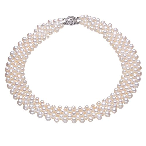 Rakumi Handmade Pearl Necklace 3-5mm Oval White Freshwater Pearl Necklace 18