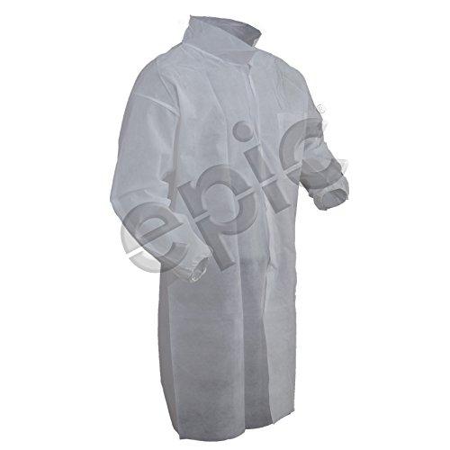 Epic 845881-XL Breathable Polypropylene Lab Coats, XL, Capacity, Volume, Spunbonded Polypropylene, x Large, White (Pack of 50)