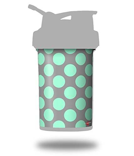 Kearas Polka Dots Mint And Gray - Decal Style Skin Wrap fits Blender Bottle 22oz ProStak (BOTTLE NOT INCLUDED) ()