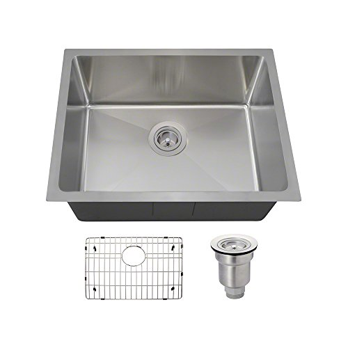 1823 Stainless Steel Single Bowl 3 4 Radius Sink, 14-Gauge, Ensemble