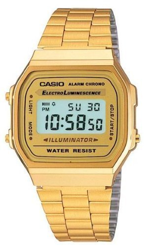 (Casio A168WG-9 Men's Vintage Gold Metal Band Illuminator Chronograph Alarm Watch)
