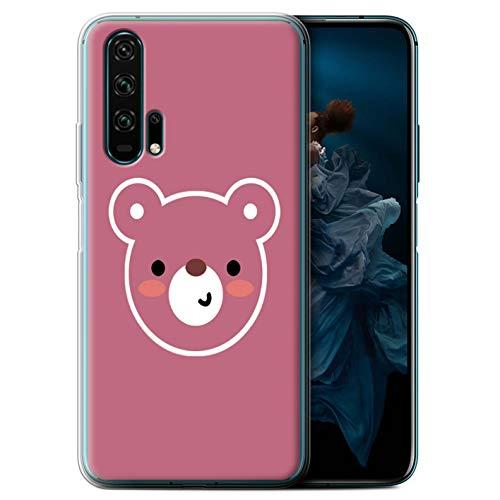 eSwish Gel TPU Phone Case/Cover for Huawei Honor 20 Pro/Teddy Bear Art Design/Cute Minimalist Animals Collection ()