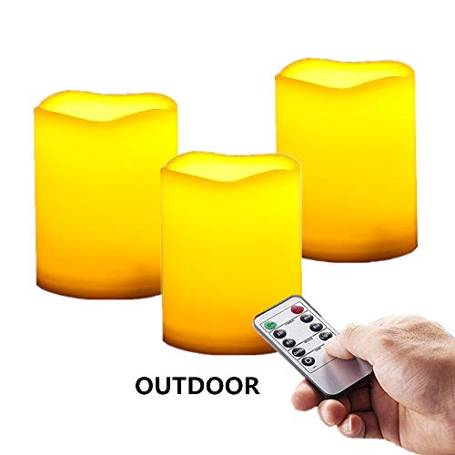 Outdoor / Indoor Rainproof Waterproof Flameless Battery LED Pillar Candles with Remote and Timer, Made of Plastic, Won't Melt, Weather Resistant Design 3 x 4