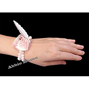 Abbie Home Bridesmaid Wedding Wrist Corsage Party Prom Girls Hand Rose Flower Decor Pack of 2/4/6 (1 pc, Pink) 56