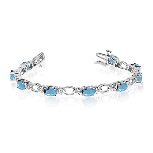Diamond Open Link Tennis Bracelet (3.48 Carat (ctw) 14k White Gold Oval Aquamarine and Diamond Open Link Tennis Bracelet - 7