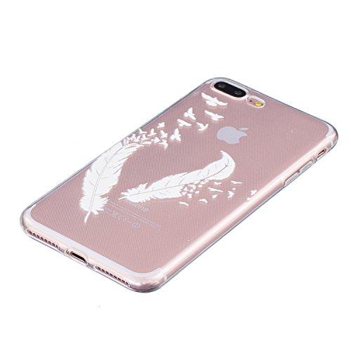 Voguecase® für Apple iPhone 7 Plus hülle, Schutzhülle / Case / Cover / Hülle / TPU Gel Skin (Weiß Gefieder 01) + Gratis Universal Eingabestift