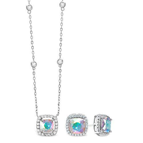 Lesa Michele Cubic Zirconia & Aurora Borealis Cushion Pendant & Stud Earring Set in Sterling Silver