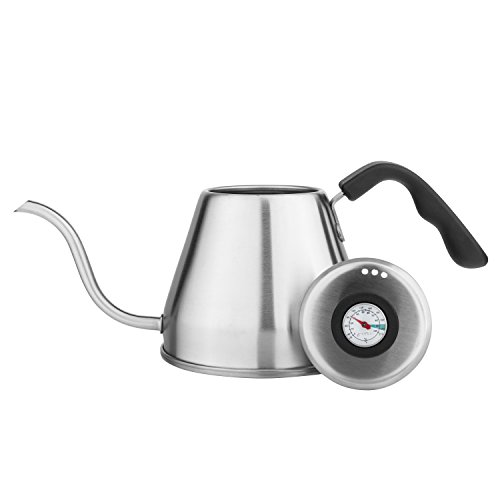 Dishwasher Safe Range In Built - Tzuki Pour Over Drip Kettle (1.2L) - Gooseneck Tea and Coffee Kettle with Built-In Thermometer for Enhanced Flavor and Aroma - Easy to Use and Dishwasher Safe - Made with Premium Stainless Steel