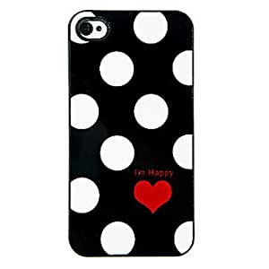 DD Round Dots and Red Heart Pattern Aluminous Hard Case for iPhone 4/4S