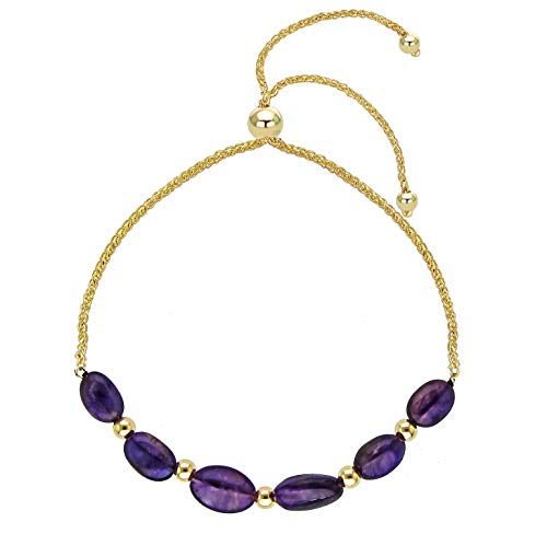 (Bolo Bracelet with Multi-shape Simulated Amethyst 14k Yellow Gold Friendship Bracelet 9.25