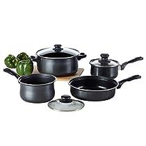 Pots and Pans Set, TOPTIER 7 Pieces Cookware Set with 2 Saucepans, 1 Dutch Oven, 1 Open Skillet, Cooking Pots and Non Stick Pans Set, Black