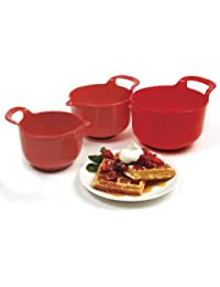 Bargain Norpro Mixing Bowls, Red, Set of 3 offer