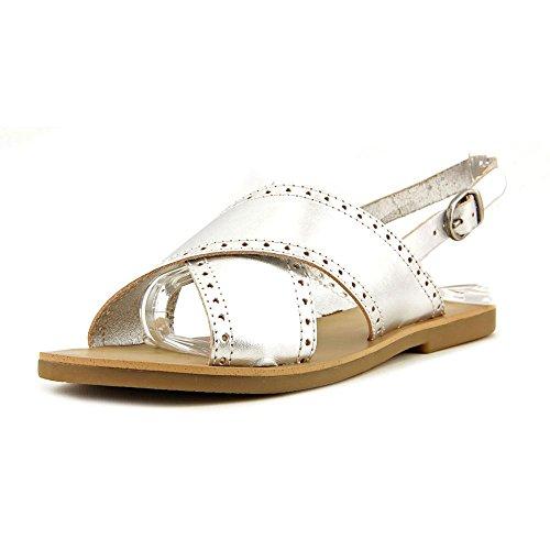 Lucky Brand Birchess Women Open Toe Leather Slingback Sandal, Silver, Size 6.0