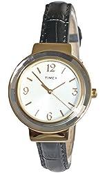 Timex Women's T2P1999J Ameritus Dress Gold-Tone Steel Watch Black Synthetic Leather Strap