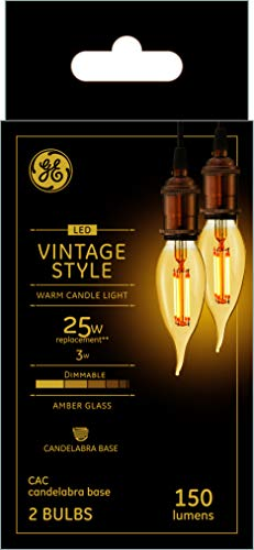 GE Lighting Vintage LED Light Bulb, Bent Tip, Warm Amber Finish, Dimmable, 25-Watt Replacement, E12 Candelabra Base, 2-Pack