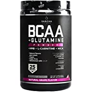 Sascha Fitness BCAA 4:1:1 + Glutamine, HMB, L-Carnitine, HICA | Powerful and Instant Powder Blend with Branched Chain Amino Acids (BCAAs) for Pre, Intra and Post-Workout | Natural Grape Flavor, 350g