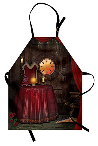 Ambesonne Gothic Apron, Fortuneteller Room with Mystic Crystal Ball Magician in Fairy Tale Image Print, Unisex Kitchen Bib Apron with Adjustable Neck for Cooking Baking Gardening, Maroon Brown -