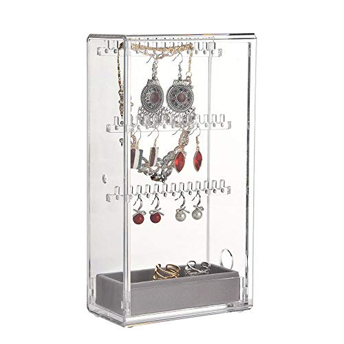 Gift Present Necklace Earrings - YEEGG Jewelry Box for Women Jewelry Organizer Necklace Earrings & Bracelet Hanger Acrylic Display Storage Case Decor Gifts,Present for Girls and Women