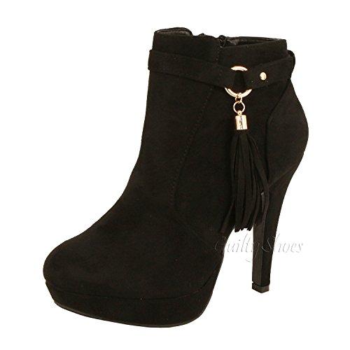 Guilty Shoes - Tassel Fringe - Stiletto Platform Heel Sexy Ankle Bootie Boots, Black Suede, 6