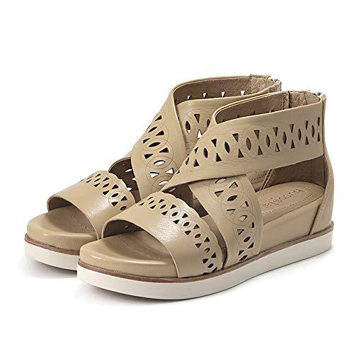 (Bussola Women Potsdam Wide Straps Sandals, Pansy Cut-Out Zipper Soft Leather Shoes (Sand))